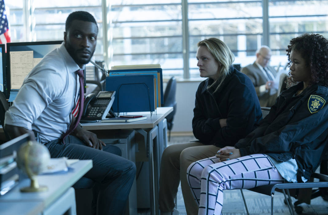 (from left) James Lanier (Aldis Hodge), Cecilia Kass (Elisabeth Moss) and Sydney Lanier (Storm Reid) in The Invisible Man, written and directed by Leigh Whannell.