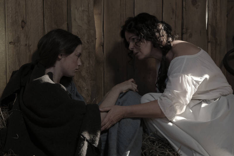 Mathilde (Marcia Gay Harden) finds Renardette in the barn. (National Geographic/Philippe Bosse)
