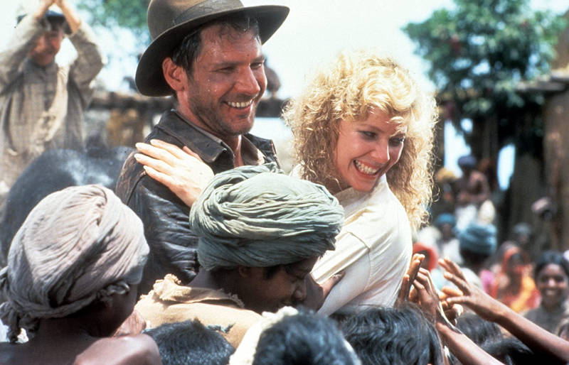 Harrison Ford and Kate Capshaw in Indiana Jones and the Temple of Doom.